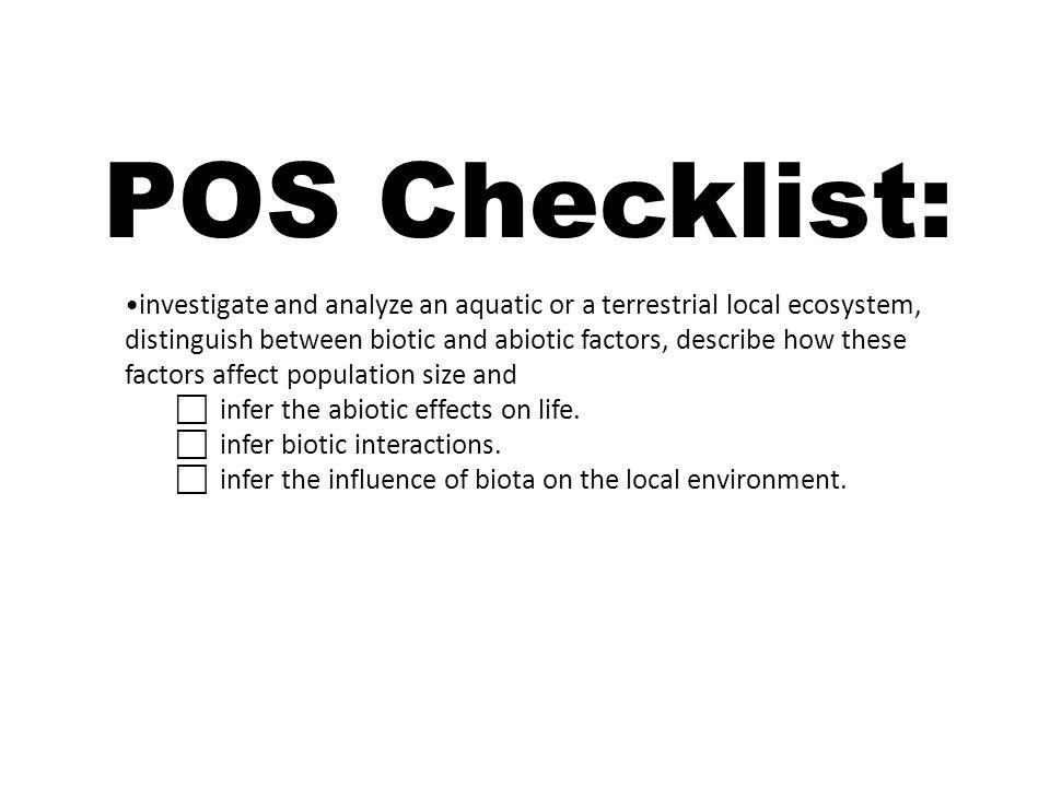 POS Checklist:
