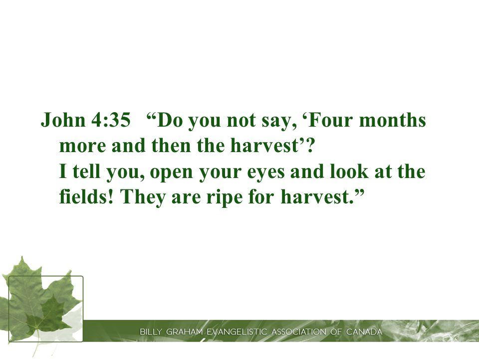 John 4:35 Do you not say, 'Four months more and then the harvest'