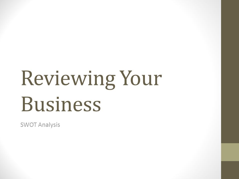 Reviewing Your Business