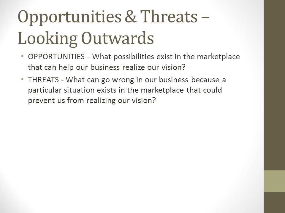 Opportunities & Threats – Looking Outwards