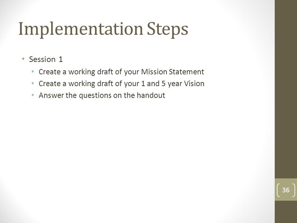 Implementation Steps Session 1