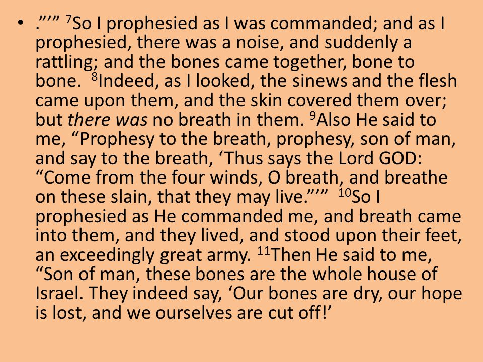 . ' 7So I prophesied as I was commanded; and as I prophesied, there was a noise, and suddenly a rattling; and the bones came together, bone to bone. 8Indeed, as I looked, the sinews and the flesh came upon them, and the skin covered them over; but there was no breath in them.