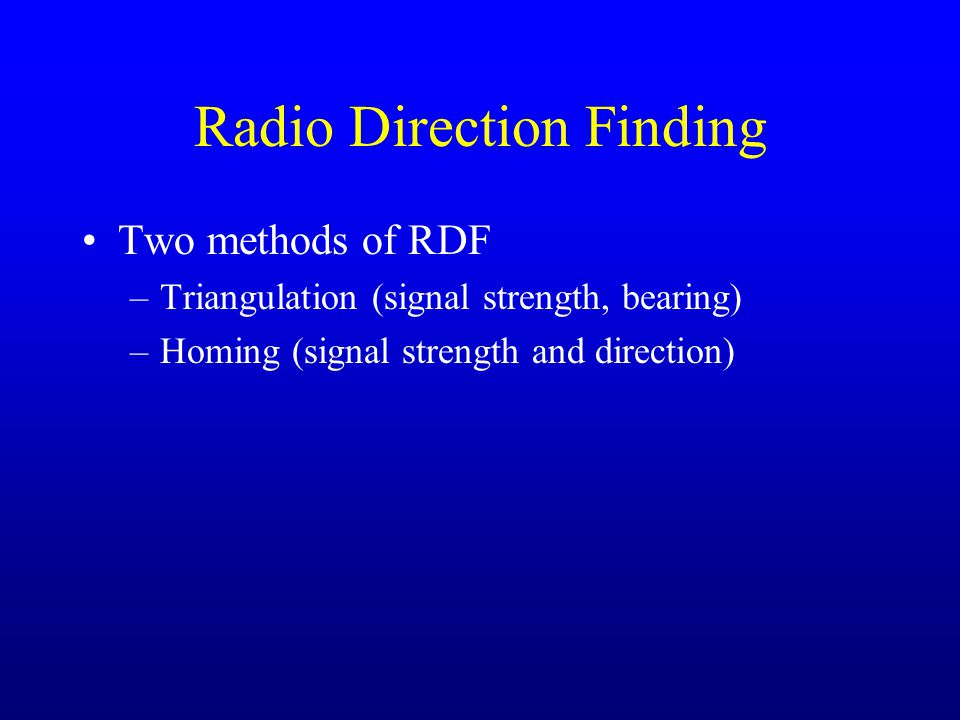 Radio Direction Finding