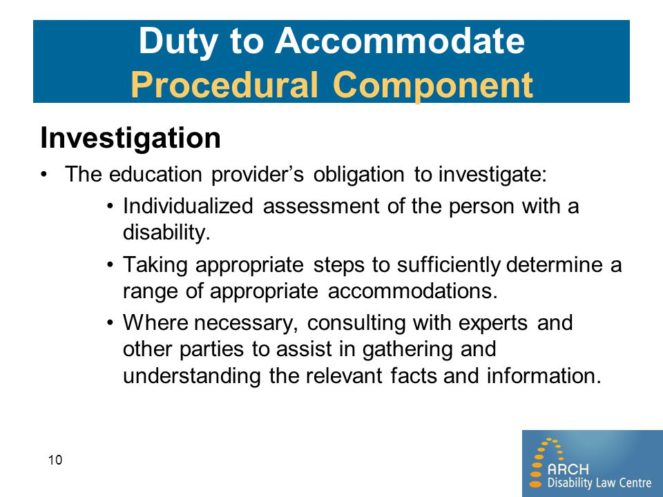 Duty to Accommodate Procedural Component