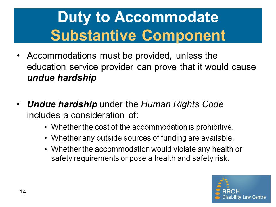 Duty to Accommodate Substantive Component