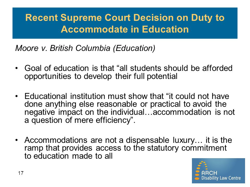 Recent Supreme Court Decision on Duty to Accommodate in Education
