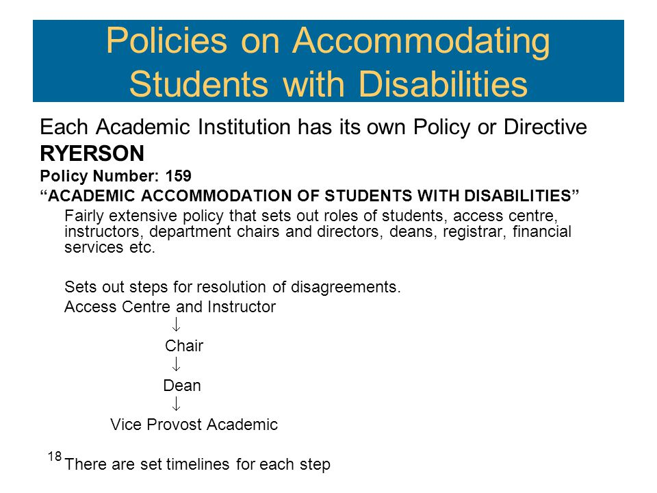 Policies on Accommodating Students with Disabilities