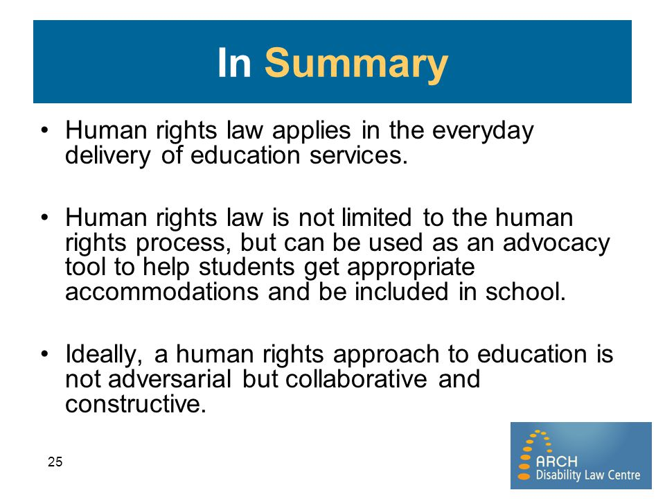 In Summary Human rights law applies in the everyday delivery of education services.