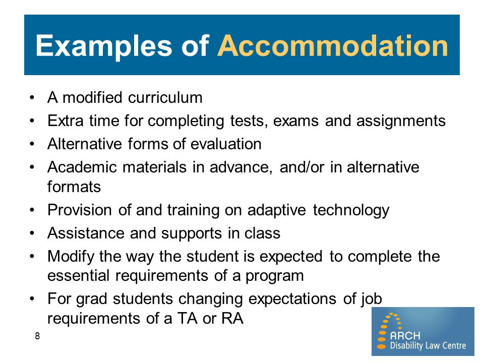 Examples of Accommodation