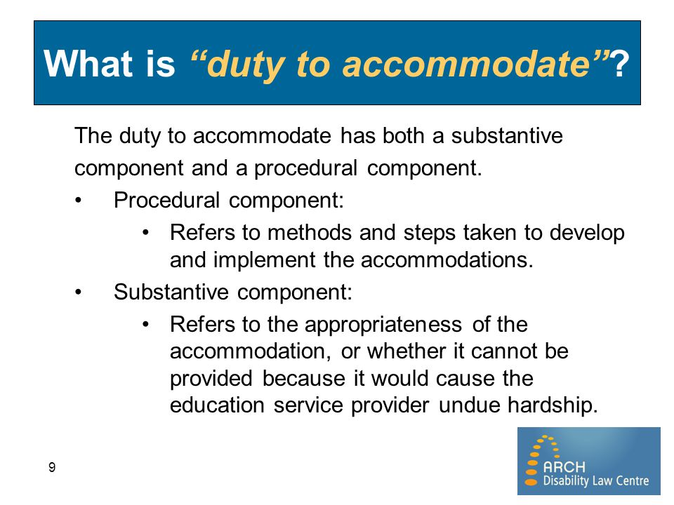 What is duty to accommodate