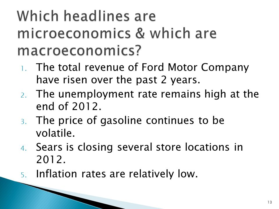 Which headlines are microeconomics & which are macroeconomics
