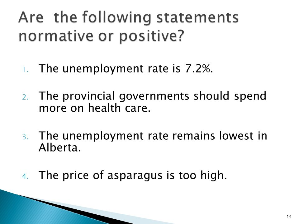 Are the following statements normative or positive