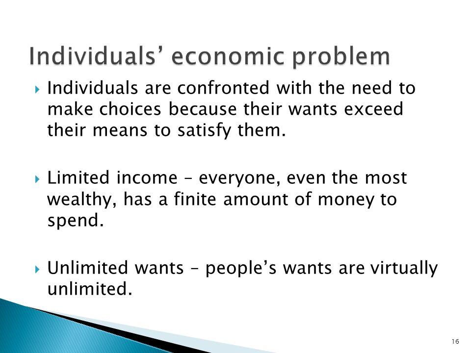 Individuals' economic problem