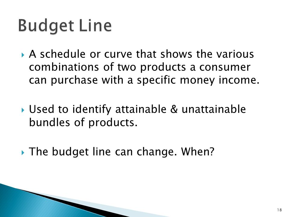 Budget Line A schedule or curve that shows the various combinations of two products a consumer can purchase with a specific money income.