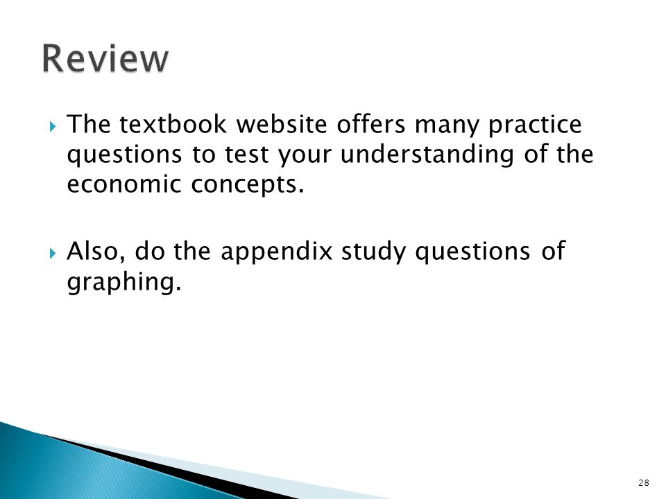 Review The textbook website offers many practice questions to test your understanding of the economic concepts.
