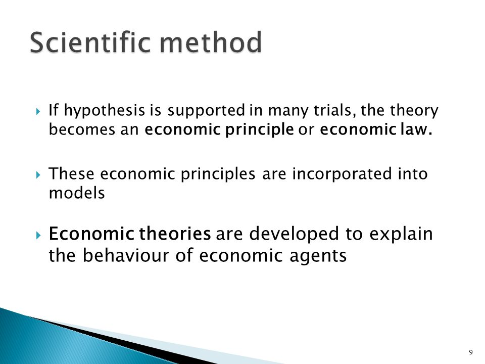 Scientific method If hypothesis is supported in many trials, the theory becomes an economic principle or economic law.