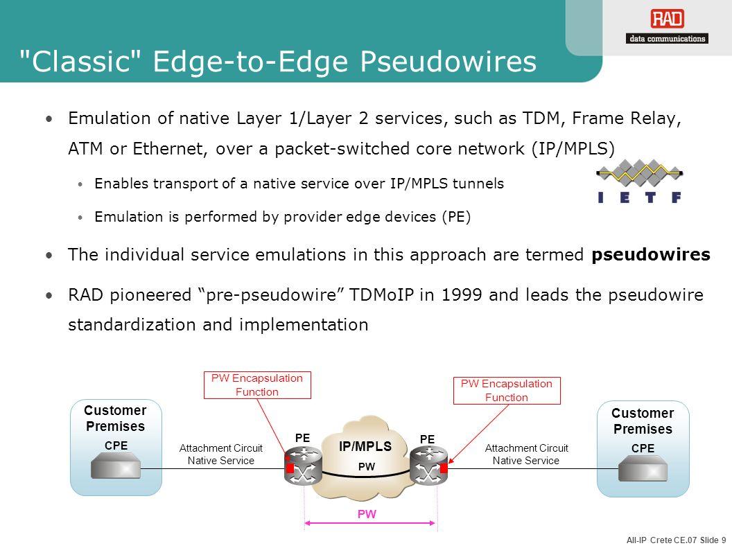 Classic Edge-to-Edge Pseudowires
