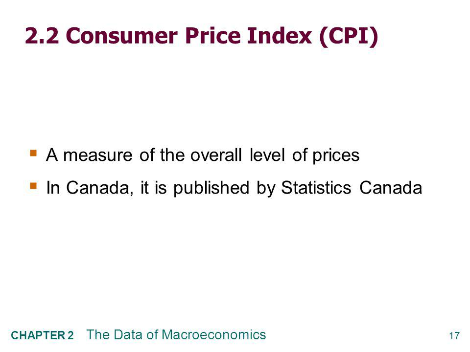 How CPI is constructed 1. Survey consumers to determine composition of the typical consumer's basket of goods.