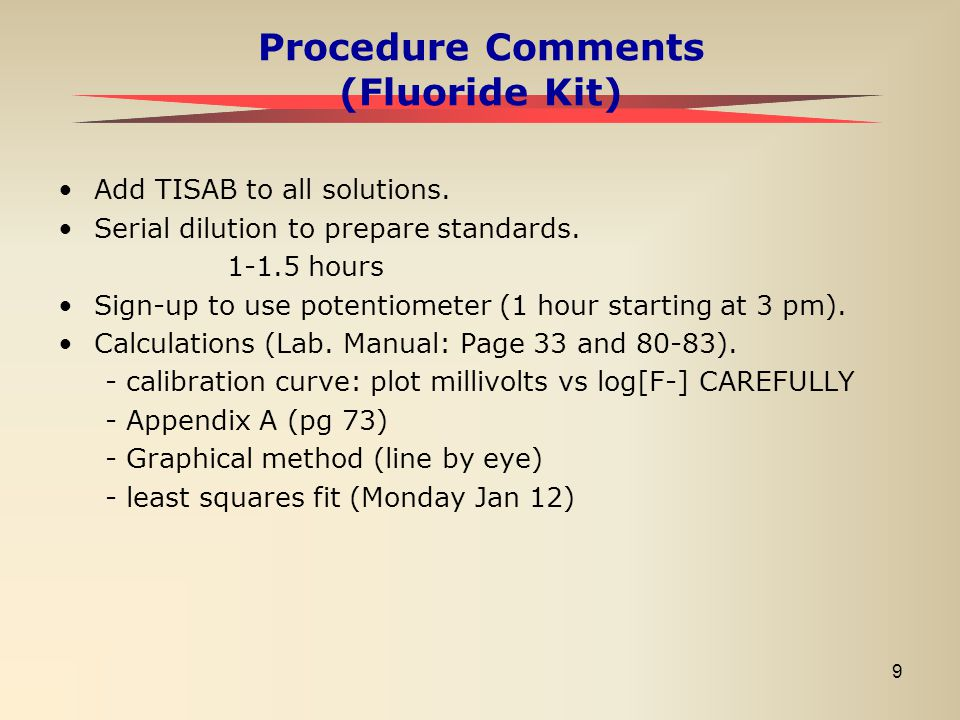 Procedure Comments (Fluoride Kit)
