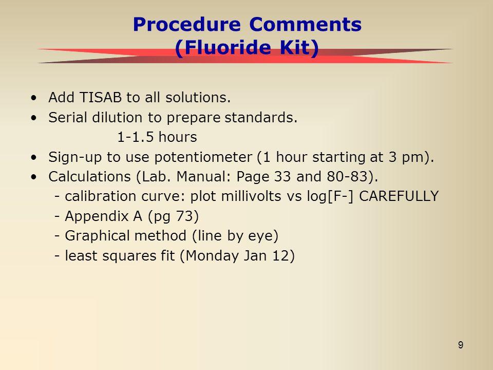 Procedure Comments (Fluoride Kit)