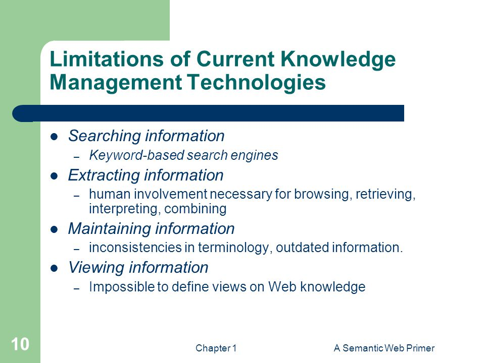 Limitations of Current Knowledge Management Technologies