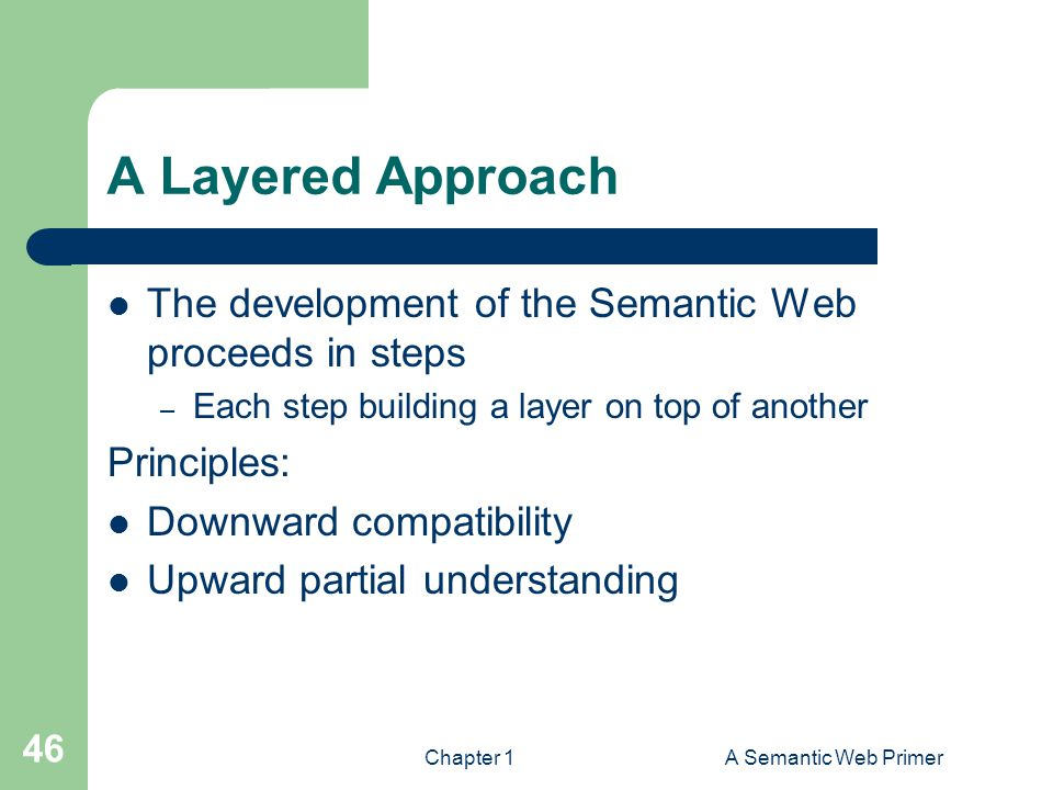 A Layered Approach The development of the Semantic Web proceeds in steps. Each step building a layer on top of another.