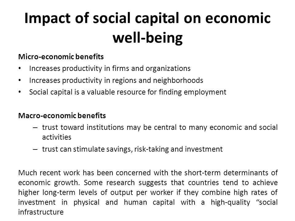 Impact of social capital on economic well-being