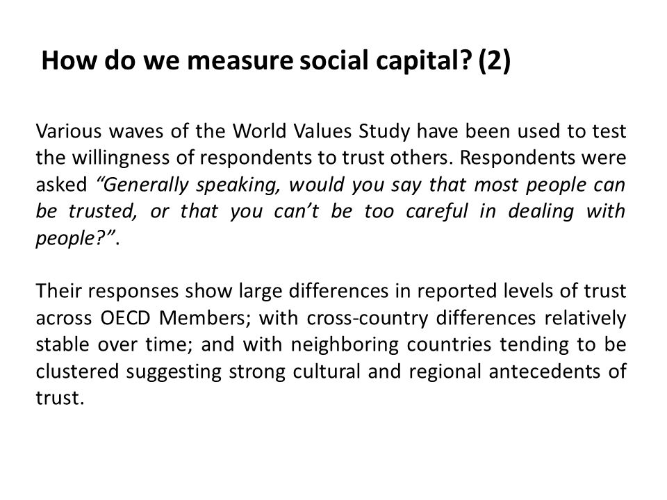 How do we measure social capital (2)