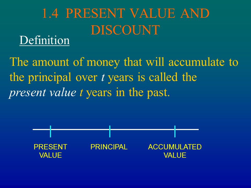 1.4 PRESENT VALUE AND DISCOUNT