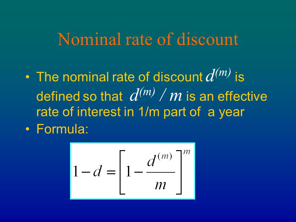 Nominal rate of discount