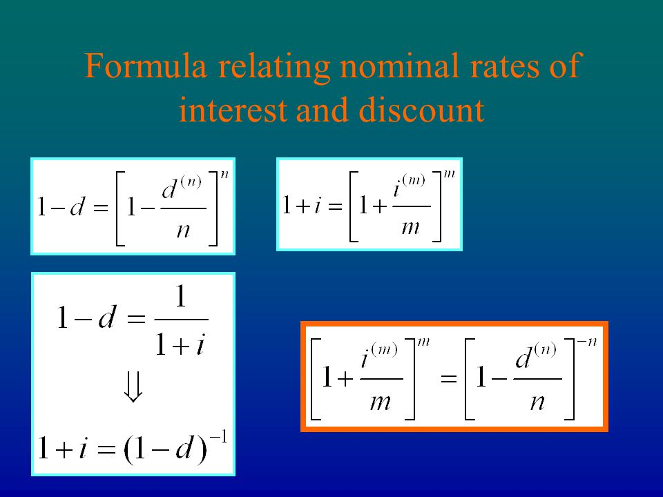 Formula relating nominal rates of interest and discount