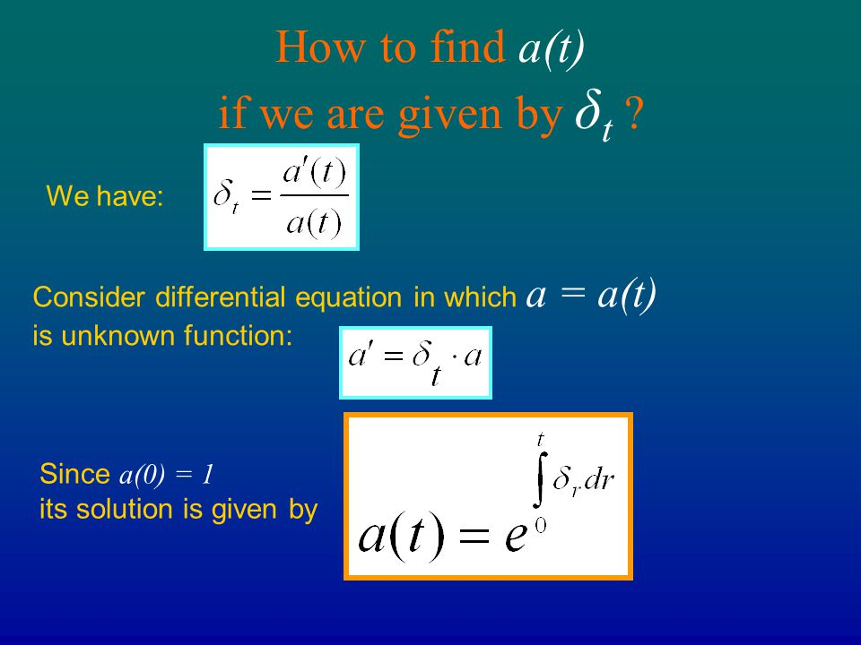 How to find a(t) if we are given by δt