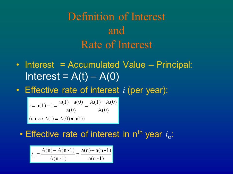 Definition of Interest and Rate of Interest
