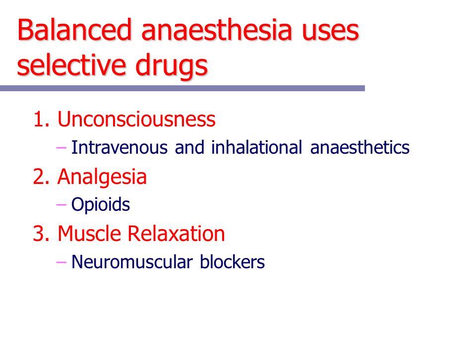 Balanced anaesthesia uses selective drugs