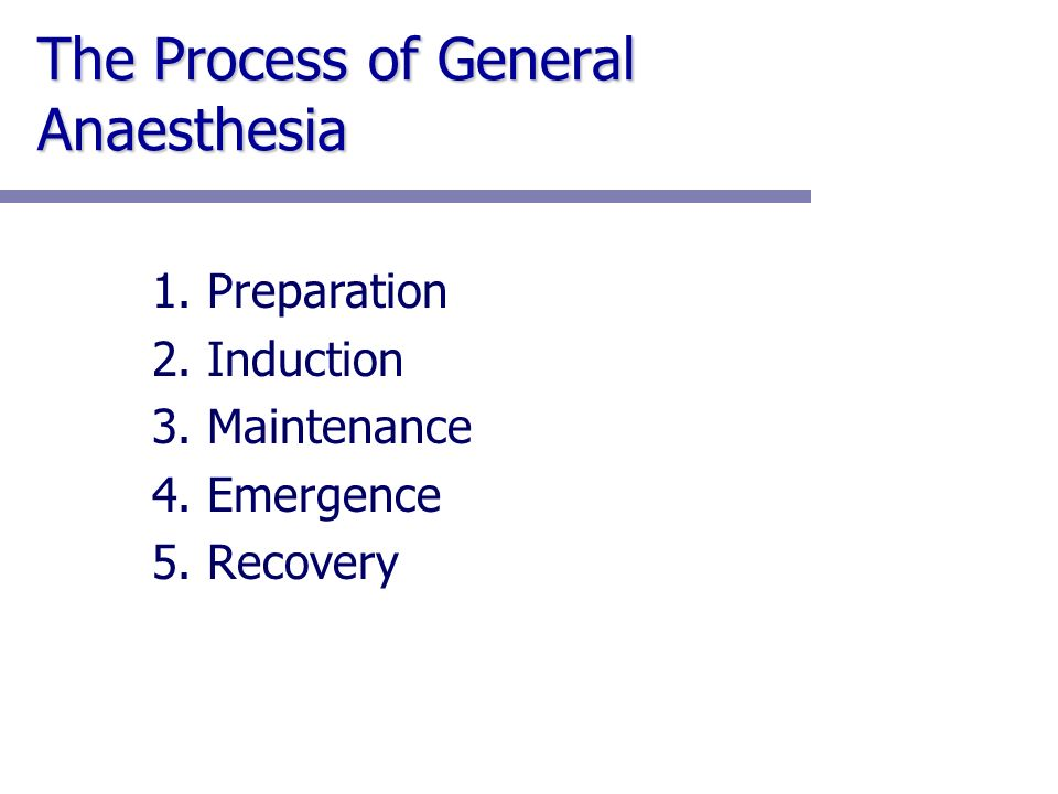 The Process of General Anaesthesia