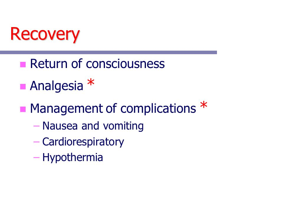 Recovery Return of consciousness Analgesia *