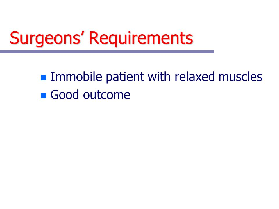 Surgeons' Requirements