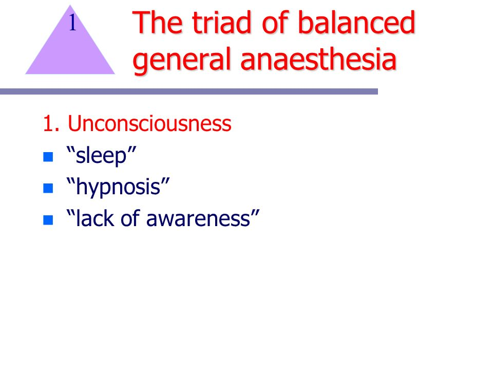 The triad of balanced general anaesthesia