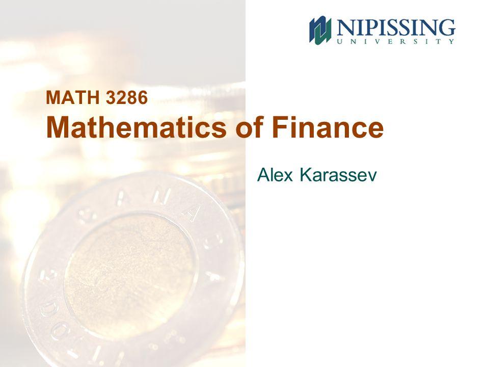 MATH 3286 Mathematics of Finance