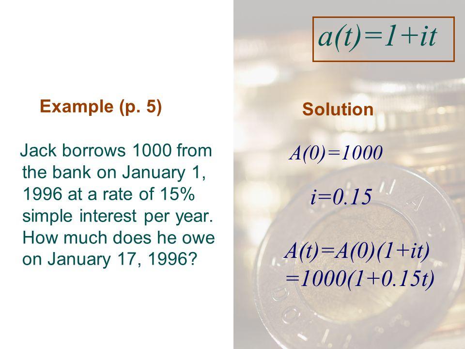 a(t)=1+it i=0.15 A(t)=A(0)(1+it) =1000(1+0.15t) t= A(0)=1000