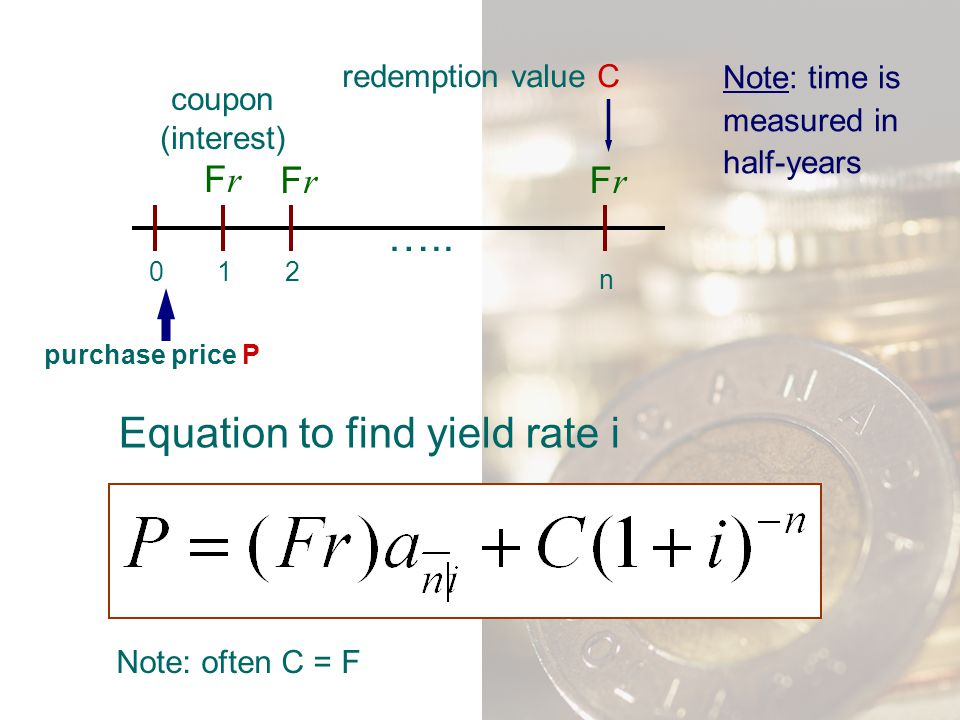 Equation to find yield rate i