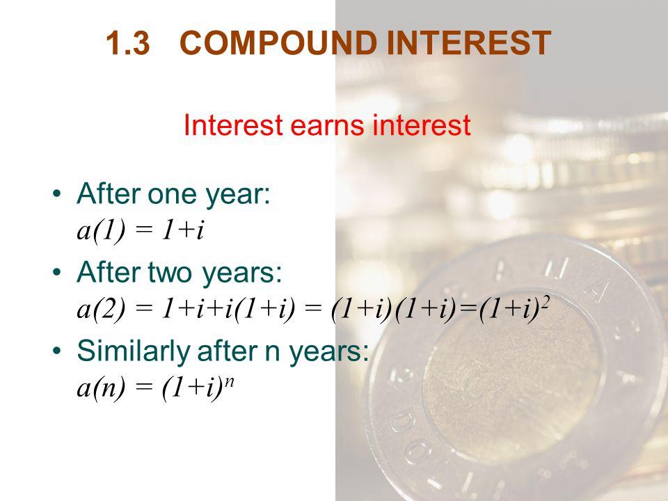 1.3 COMPOUND INTEREST Interest earns interest
