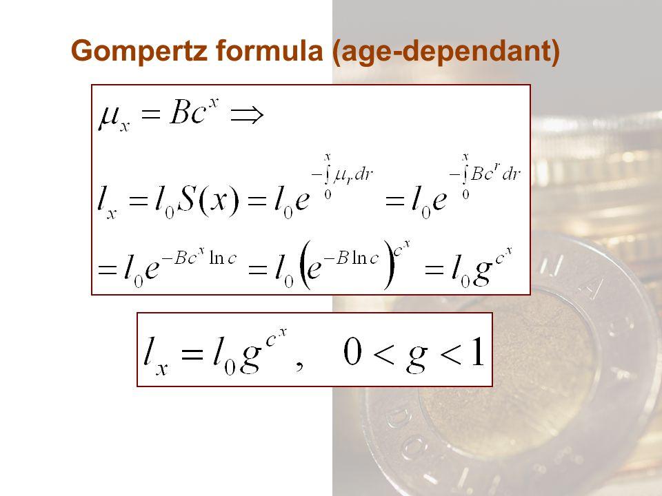 Gompertz formula (age-dependant)