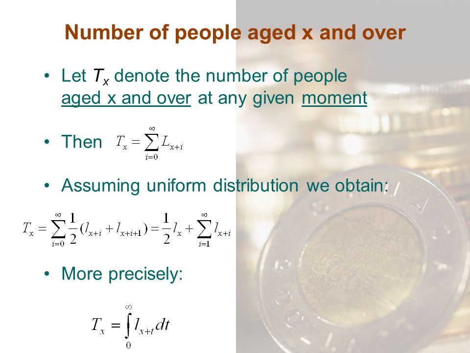 Number of people aged x and over