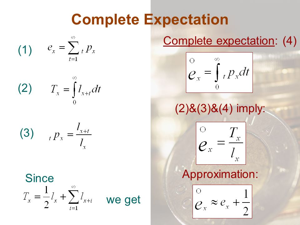 Complete expectation: (4)