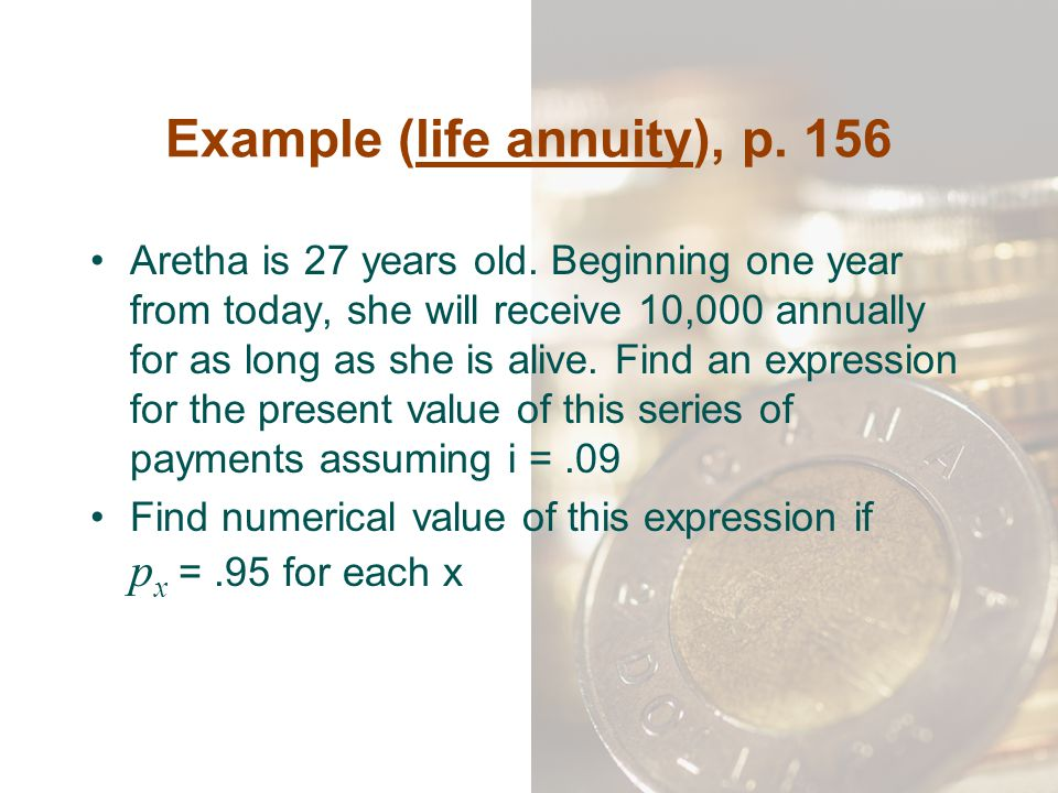 Example (life annuity), p. 156