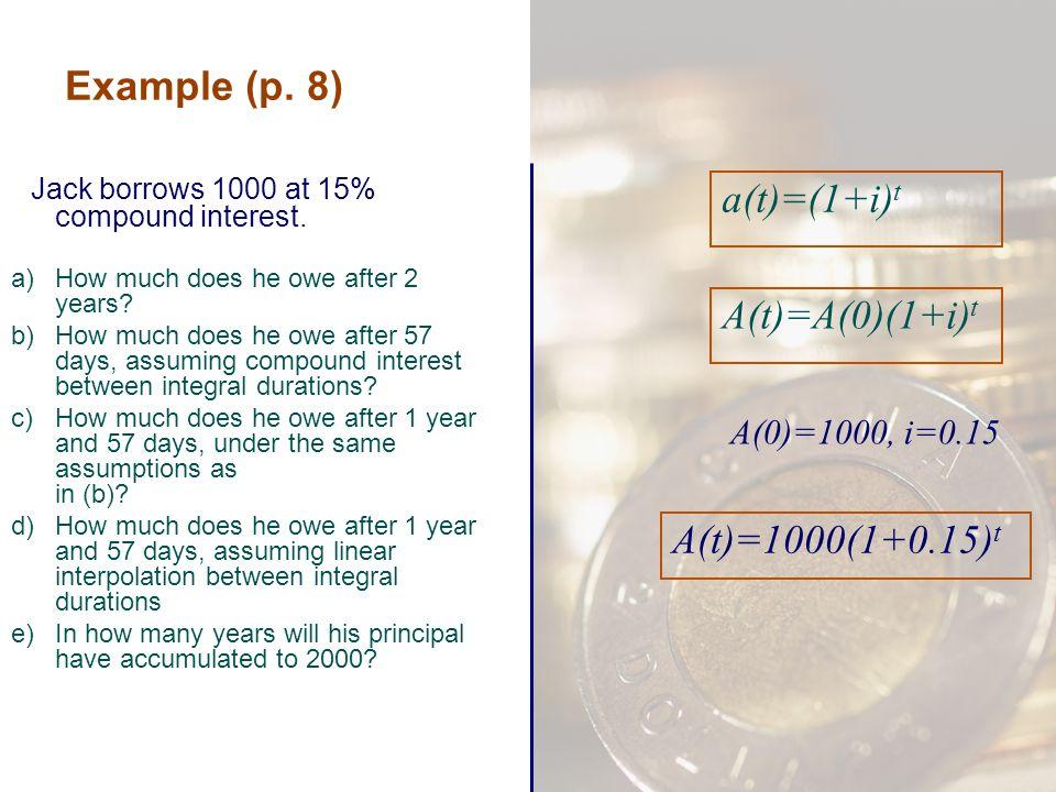 Example (p. 8) a(t)=(1+i)t A(t)=A(0)(1+i)t A(t)=1000(1+0.15)t