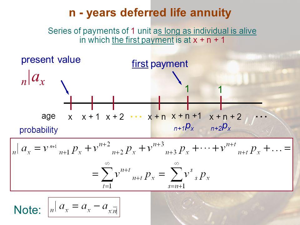 n - years deferred life annuity