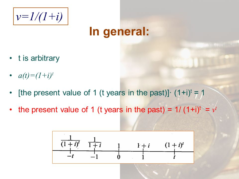 v=1/(1+i) In general: t is arbitrary a(t)=(1+i)t