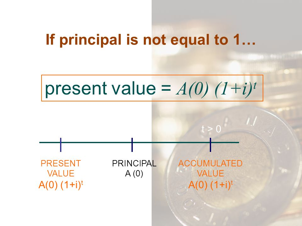 If principal is not equal to 1…